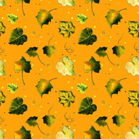 Seamless pattern with leaves on yellow background Hand draw illustration.