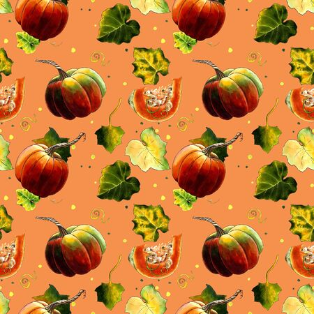 Seamless pattern with pumkins and leaves Hand draw illustration.