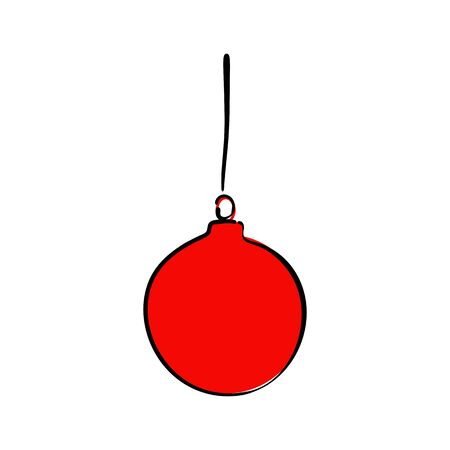Red christmas ball icon on white background