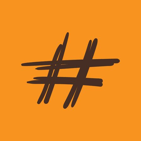 Hashtag sign icon vector illustration on orange background