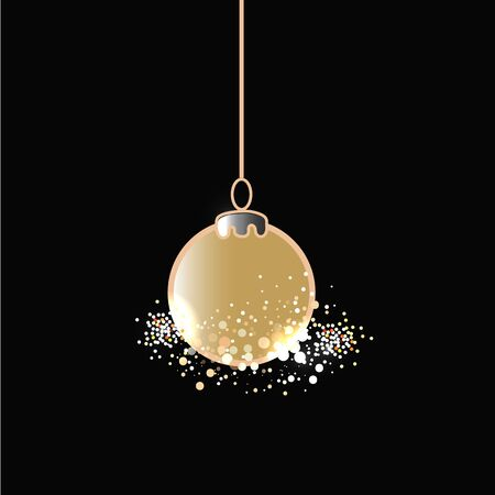 Christmas golden ball on dark background. Vector Illustration
