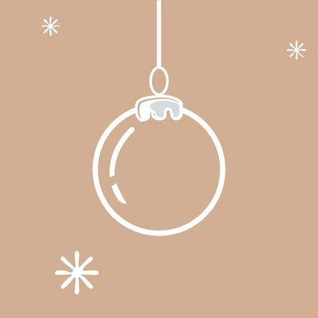 Christmas ball icon on beige background Vector illustration Çizim