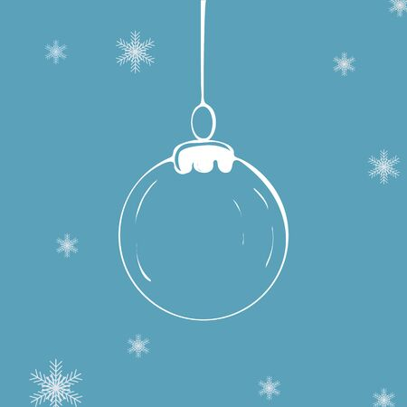 Christmas ball icon on blue background Vector illustration Stok Fotoğraf