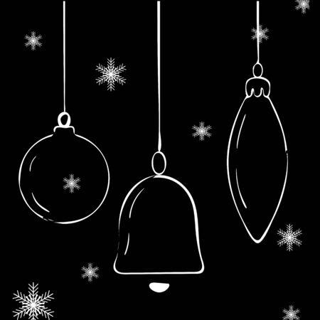 Set of Christmas glass balls on black background. Vector Illustration 写真素材 - 136746772