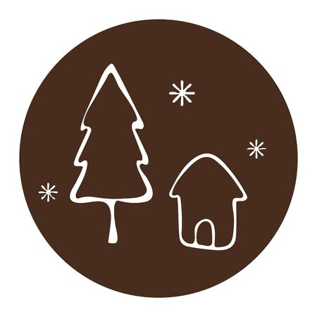 Houses winter icon. Vector illustration Çizim