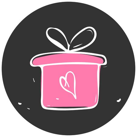 Valentine gift box icon vector illustration EPS10 Çizim