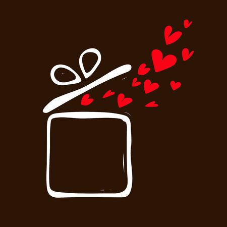 Valentine gift box icon on brown backgroundVector illustration