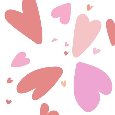Valentines day with pink hearts on white background Vector illustration