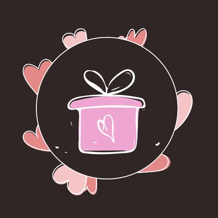 Valentine gift box icon vector illustration EPS10 写真素材 - 135348671