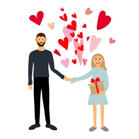 Couple in love. Vector illustration. Man and woman holding hands. Valentinas day  イラスト・ベクター素材