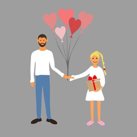 Couple in love. Vector illustration. Man and woman holding hands. Valentinas day Illusztráció