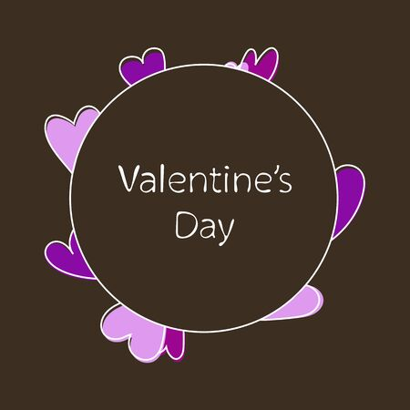 Valentines day template with hearts Vector illustration