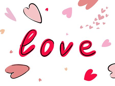 Love word hand drawn lettering with hearts on white background Vector illustration