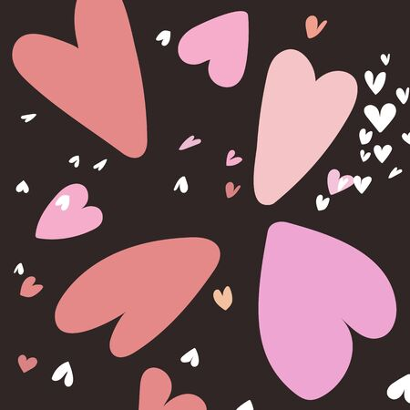 Valentines day with pink hearts on dark background. Eps10