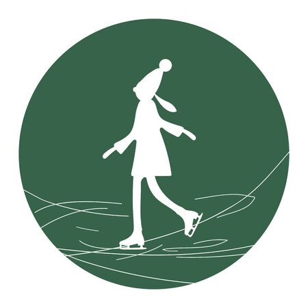 Girl on ice skates on green background. Ice skating icon Vector illustration 写真素材 - 135505411