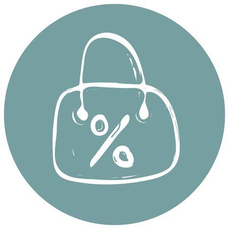 Shopping bag icon vector illustration on blue background