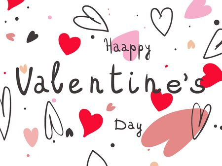 Valentines day with pink hearts on white background. Eps10
