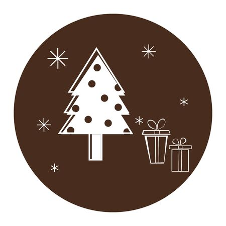Winter icon with Christmas tree, giftbox and snowflakes on a brown background.  イラスト・ベクター素材