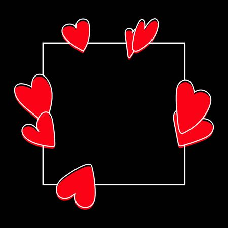 Valentines day template with red hearts on black background Vector illustration