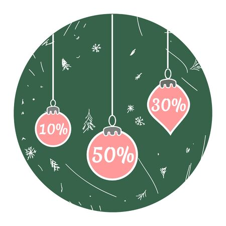 Set of Christmas discounts in the form of Christmas balls  イラスト・ベクター素材