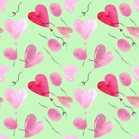 Seamless pattern with heart shaped balloon on green background Watercolor illustration. Valentines day 写真素材