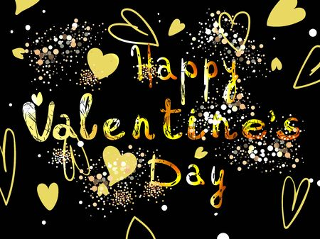 Valentines day with pink hearts on black background. Eps10
