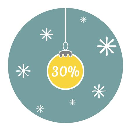 Christmas discounts in the form of Christmas ball on blue background