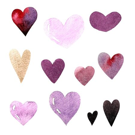 Set of watercolor hearts on white background 写真素材