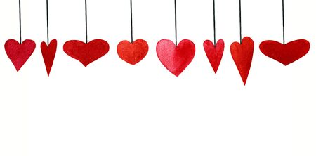 Set of watercolor red hearts on white background. Hand draw