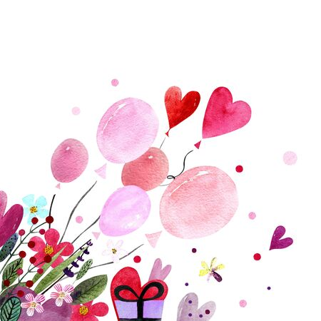 Watercolor illustration with balloons, hearts,leaves, herbs and flowers. Happy Valentines Day. Love text 写真素材