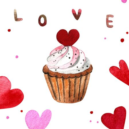 Watercolor capcake with cream and heart 写真素材 - 136385231
