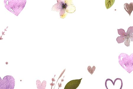 Hand draw template with hearts, leaves, herbs, lavender. Watercolor illustration 写真素材 - 136746492