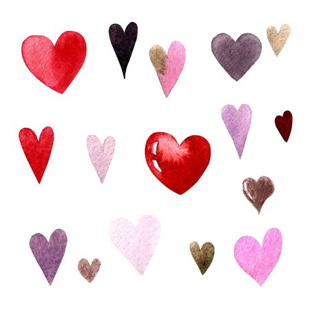 Set of watercolor hearts on white background. Hand draw