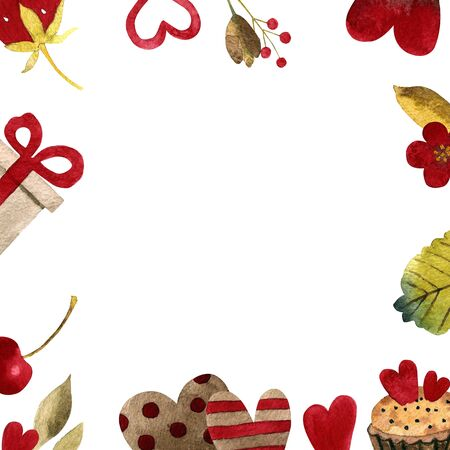 Hand drawn illustration. Template with hearts, strawberry, leaves, flowers, gift Watercolor lor illustration 写真素材