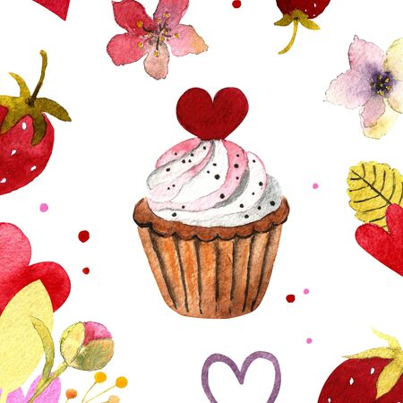 Watercolor illustration with capcake,hearts, leaves, flowers,strawberyy. Hand drawn