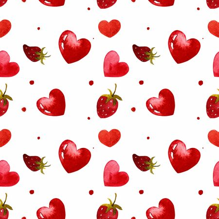 Seamless pattern with hearts and strawberry on white background Watercolor illustration. Valentines day 写真素材