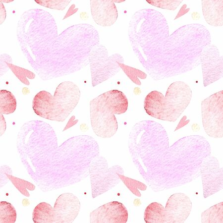 Seamless pattern with hearts on white background Watercolor illustration. Valentines day 写真素材 - 136746507