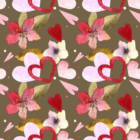 Seamless pattern with hearts, flowers, leaves on dark background Watercolor illustration 写真素材