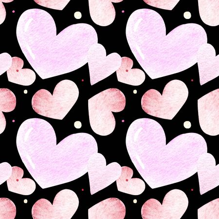 Seamless pattern with hearts on black background Watercolor illustration. Valentines day 写真素材 - 136746137