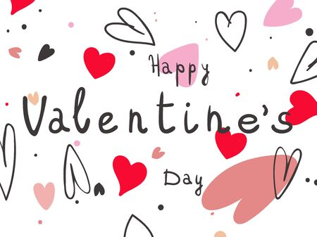 Happy Valentines Day poster with handwritten text on white background. Vector Illustration 写真素材 - 136564414