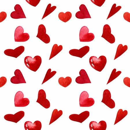 Seamless pattern with hearts on white background Watercolor illustration. Valentines day