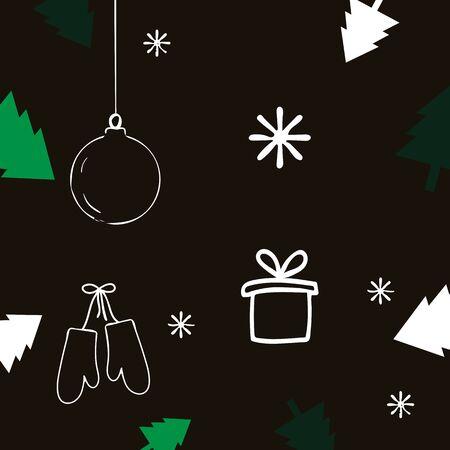 Christmas card with Christmas trees, ball, sled and gifts. 写真素材