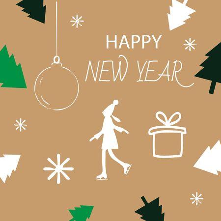 Christmas card with Christmas trees, ball and gifts.