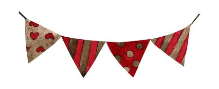 Watercolor vintage flags. Party and wedding decor elements 写真素材