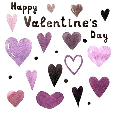 Set of watercolor hearts with handwritten text on white background. Hand draw 写真素材 - 136784505