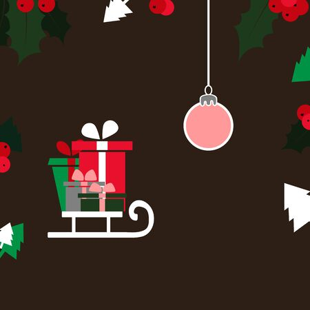 Christmas card with Christmas trees, ball, sled and gifts.  イラスト・ベクター素材