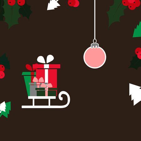 Christmas card with Christmas trees, ball, sled and gifts. 写真素材 - 136914528