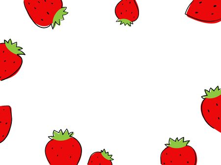 Frame with strawberry on white background Vector illustration