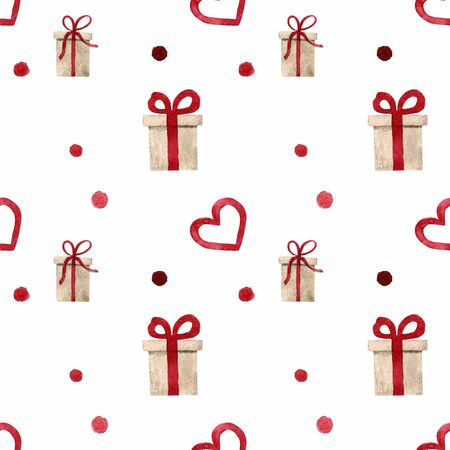 Seamless pattern with hearts and gift on white background Watercolor illustration
