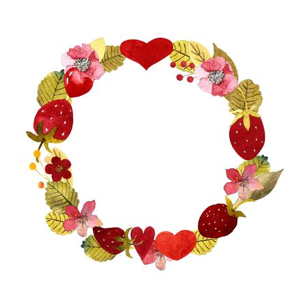 Wreath with hearts, leaves, flowers, strawberry Watercolor Illustration 写真素材